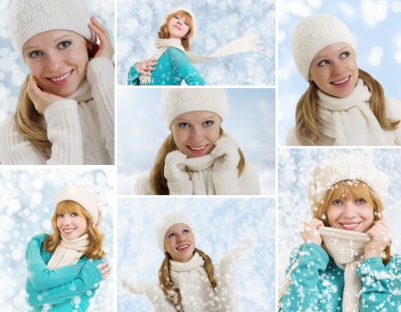 collage. Young women in hat and scarf, with snowflakes on a winter background photo