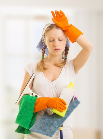 beautiful young housewife is tired of housework Stock Photo - 15683310
