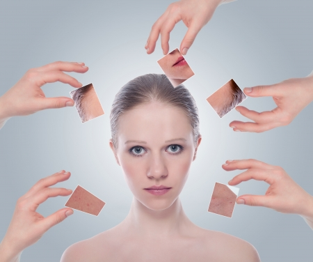 concept skincare . Skin of beauty young woman before and after the procedure  on a gray background Stock Photo - 15720935