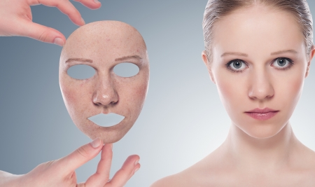 concept skincare with  mask . Skin of beauty young woman before and after the procedure  on a gray background photo