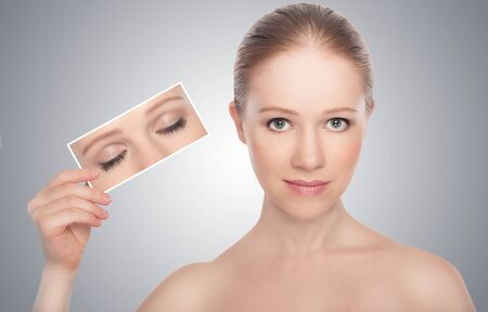 insight: concept. open eyes of women. insight to see the truth Stock Photo