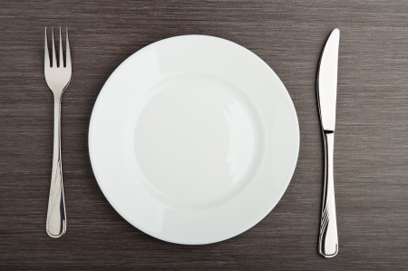 background settings: table setting. plate fork knife white empty