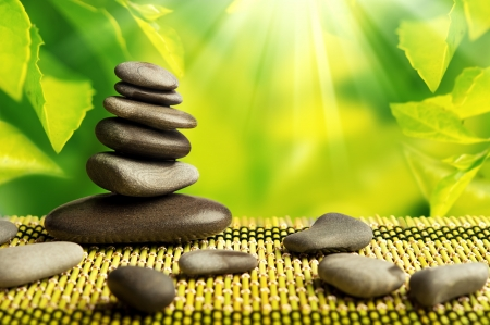 green eco background with spa stones and leaves with sunlight photo