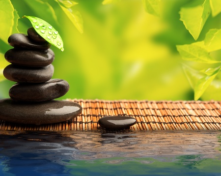 bamboo therapy: green eco background with spa stones and leaves with water and sunlight Stock Photo