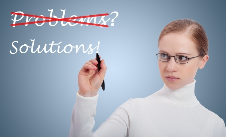 people problems: Concept of success. business woman, problems and solutions