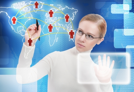 global links: business concept. communication, link, connection people of the future on the map around the world Stock Photo