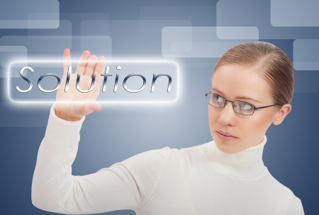 business concept. Young modern business woman chooses solution and success Stock Photo - 16306034