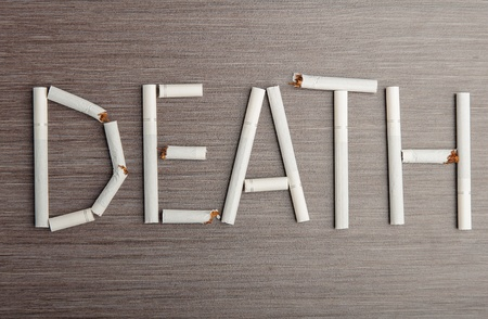bad habit: concept of the dangers of smoking. the word