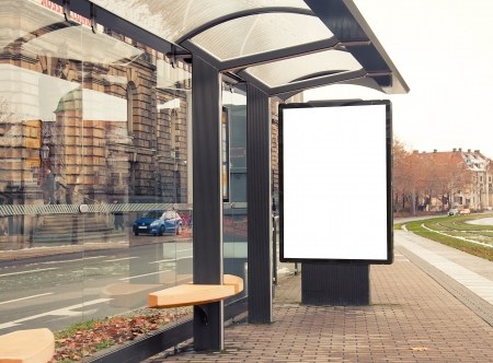 advertisements: Billboard, banner, empty, white at a bus stop