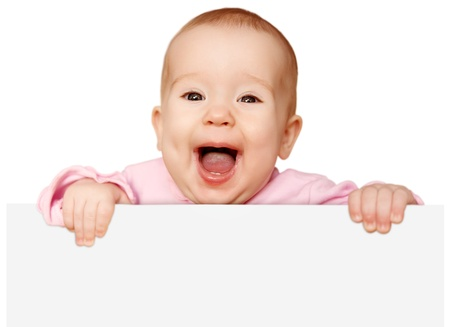cute baby with white blank banner in hand isolated photo