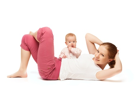 aerobics: A mother and baby gymnastics, yoga exercises