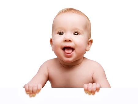 funny cute baby with white blank banner in hand isolated photo