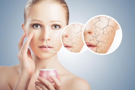 concept of cosmetic effects, treatment and skin care.  face of young woman with dry skin photo