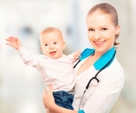 child patient: female doctor pediatrician and patient happy child baby