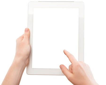 white tablet with a  blank screen in the hands of  woman isolated on white background photo