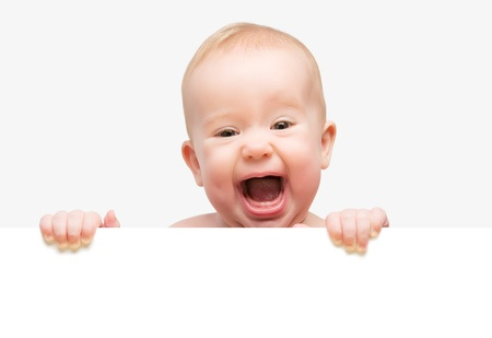 blank banner: funny cute baby with white blank banner in hand isolated