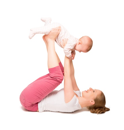 baby mom: A mother and baby gymnastics, yoga exercises isolated on white background