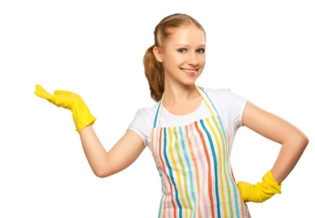 bright housekeeping: happy young housewife in glove with white empty billboard isolated on white background Stock Photo