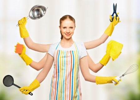 コンセプト考え。多くの手を持つ全能の普遍的な女性主婦。世帯の計画