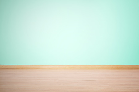 light green wall: background, blank empty wall and floor in a blue green color