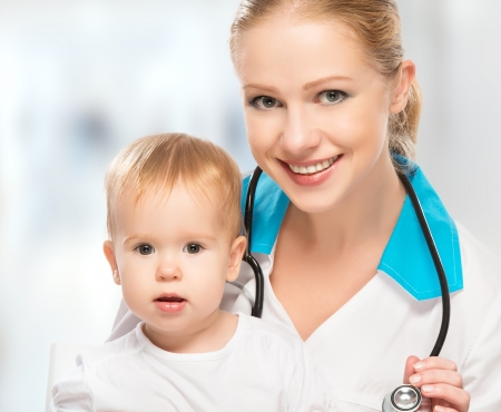 female doctor pediatrician and patient happy child baby