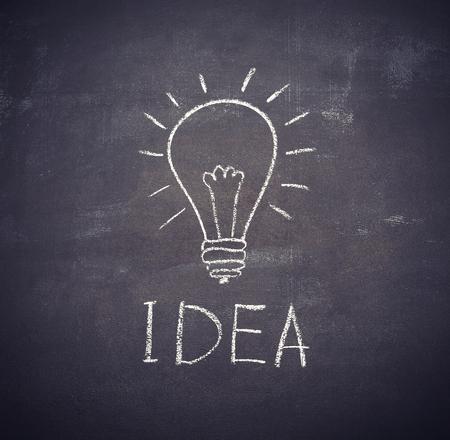 idea light bulb drawn with chalk on a blackboard photo