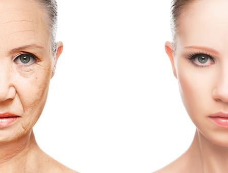 노화 및 피부 관리의 개념. 젊은 여자와 주름 늙은 여자의 얼굴 스톡 콘텐츠