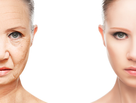 aging: concept of aging and skin care. face of young woman and an old woman with wrinkles Stock Photo