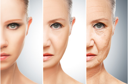 yaşları: yaşlanma ve cilt bakımı kavramı. Genç kadın ve kırışıklıkların ile yaşlı bir kadının yüzü