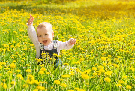 Beautiful happy little baby girl sitting on a green meadow with yellow flowers dandelions on the nature in the park photo