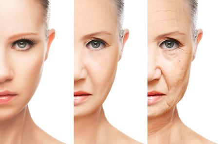 노화 및 피부 관리의 개념. 젊은 여자와 격리 된 주름 늙은 여자의 얼굴