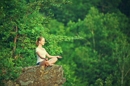 woman meditating in lotus posture, doing yoga on top of the mountain on a rock in nature in the forest photo