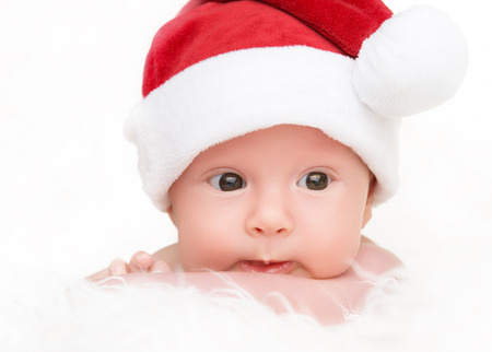 cute happy newborn baby in christmas hat stock photo 30895355