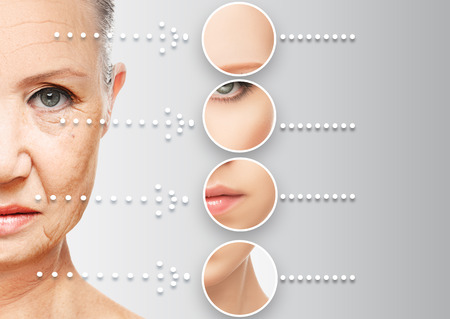 beauty concept skin aging. anti-aging procedures, rejuvenation, lifting, tightening of facial skin, restoration of youthful skin anti-wrinkle Imagens