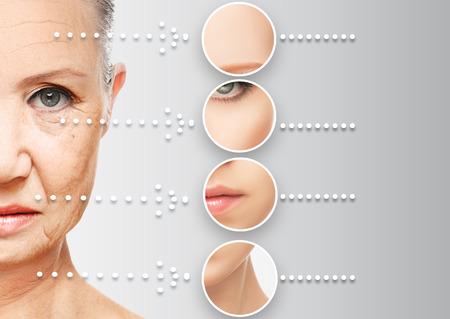 limpieza de cutis: el concepto de belleza envejecimiento de la piel. procedimientos anti-envejecimiento, rejuvenecimiento, elevaci�n, el endurecimiento de la piel facial, la restauraci�n de la piel joven antiarrugas Foto de archivo