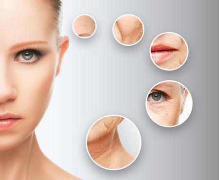krása koncept stárnutí kůže. Postupy proti stárnutí, omlazení, zvedací, zpřísnění obličeje, renovace mladistvou pleť proti vráskám