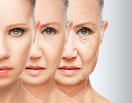 아름다움 개념 피부 노화. 노화 방지 절차, 회춘, 얼굴 피부 리프팅 강화, 젊은 피부 주름의 복원