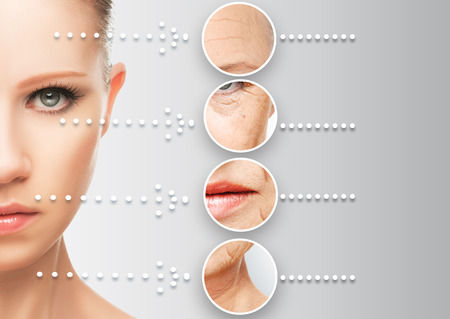 el concepto de belleza envejecimiento de la piel. procedimientos antienvejecimiento, rejuvenecimiento, elevación, el endurecimiento de la piel facial, la restauración de la piel joven antiarrugas Foto de archivo