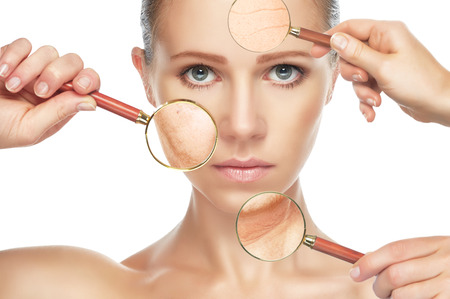 old age care: beauty concept skin aging. anti-aging procedures, rejuvenation, lifting, tightening of facial skin, restoration of youthful skin anti-wrinkle Stock Photo