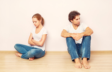 family crisis, conflict, strife, discord. wife was mad at her husband photo
