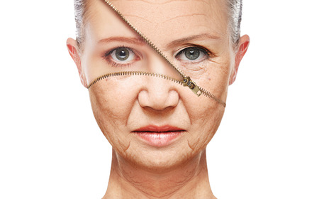 aging woman: beauty concept skin aging. anti-aging procedures, rejuvenation, lifting, tightening of facial skin, restoration of youthful skin anti-wrinkle Stock Photo