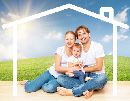 residential home: Concept: housing for young families. mother father and child at home Stock Photo