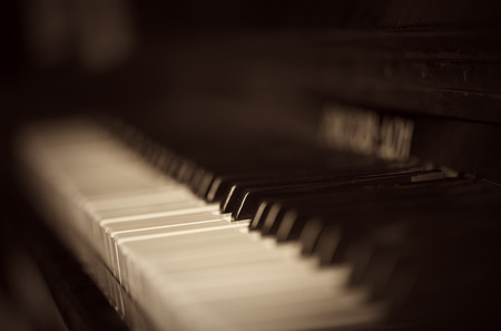 old piano: the old piano keyboard in monohrome shades Stock Photo