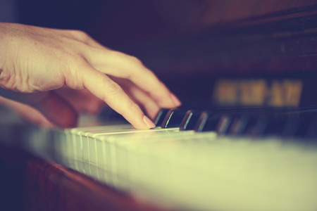 pianista: manos de una mujer joven pianista sobre el teclado del piano