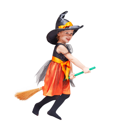 broomstick: Halloween. Witch child flying Isolated on white background