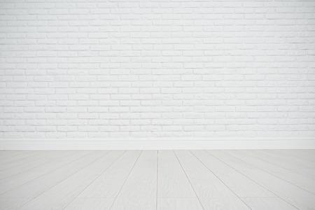 fondo blanco: blanca pared de ladrillo blanco y el piso de madera en una habitación vacía