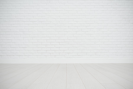 white wall texture: white blank brick wall and wooden floor in an empty room
