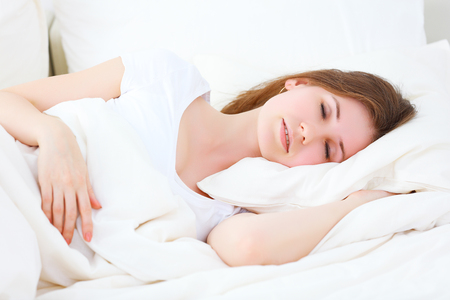 asleep: young beauty woman sleeping in the bed