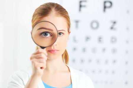 examen de la vista: concepto de prueba de visión. mujer con una lupa en el oftalmólogo médico Foto de archivo