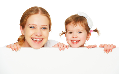 happy family mother child daughter with blank white poster isolated Stock Photo